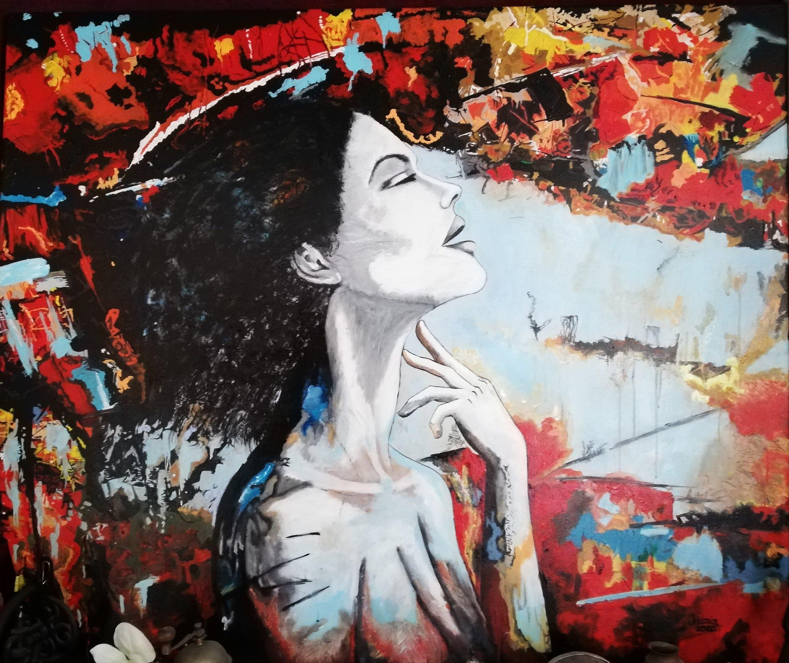obraz kobiety na tle jesiennych kolorów
